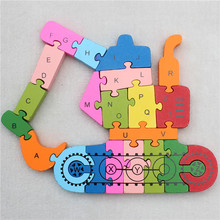 Colorful Wooden 26 Letters and Numbers Navvy Model Jigsaw Puzzle Educational Toys for Kids(China (Mainland))