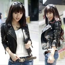 2015 New Fashion Slim Type Zipper Women Jacket Casaco Feminino Coat Black And Red Wine WT