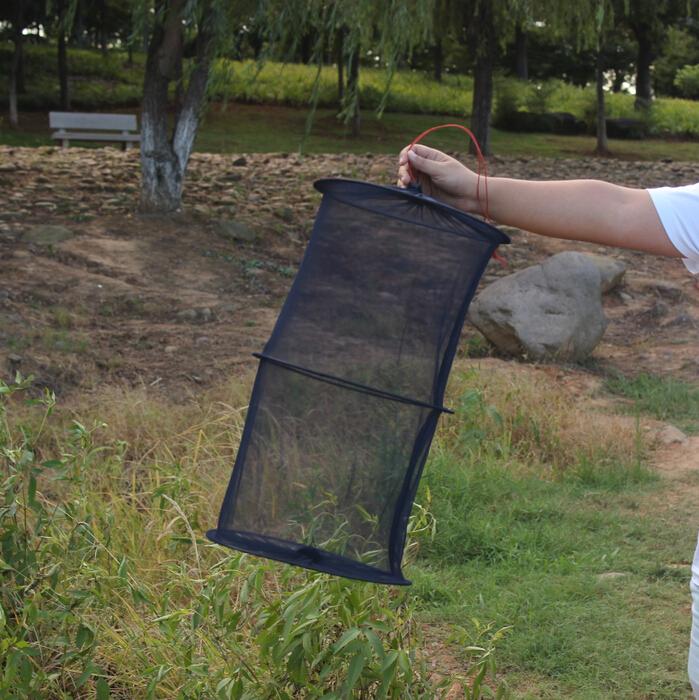 Two layer small mesh fishing mini folding fish net fishing for Small fishing net