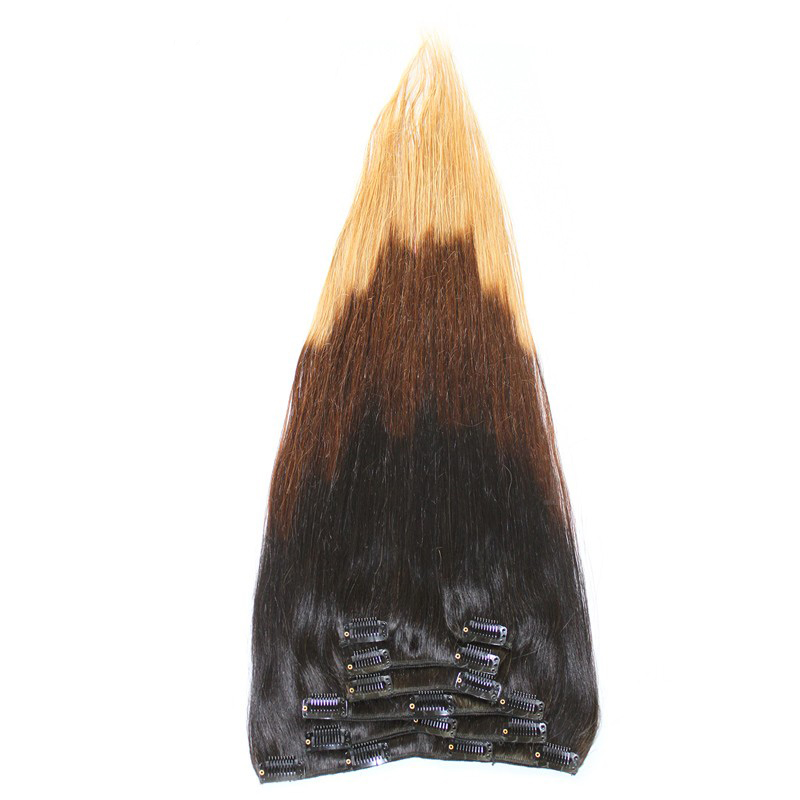 7A Hot Sell Clip In Hair T1B/4/27 160g/set Brazilian Virgin Clip In Hair Extensions Full Head Clip In Hair Extensions