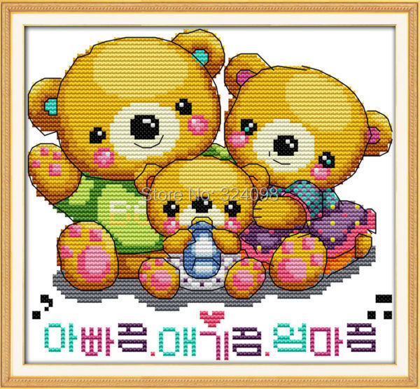 Wholesale Needlework,Stitch,DIY 14CT DMC Cross Stitch,Sets For Embroidery Kits,Sweet Little Bears Counted Cross-Stitching(China (Mainland))