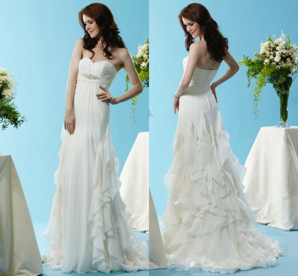 2015 cheap elegant beautiful beach sweetheart chiffon off for Cheap chiffon wedding dresses