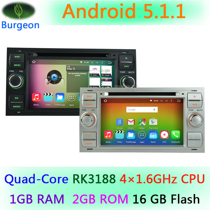 HD 1024X600 Quad Core Android 5.1.1 Car DVD Player For Mondeo Connect Kuga Focus 2 S C MAX 3G WIFI Radio GPS Navigation system(China (Mainland))
