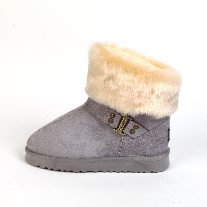 Ankle Boots Women Winter Short Snow Boot Turning Over Wool Warm