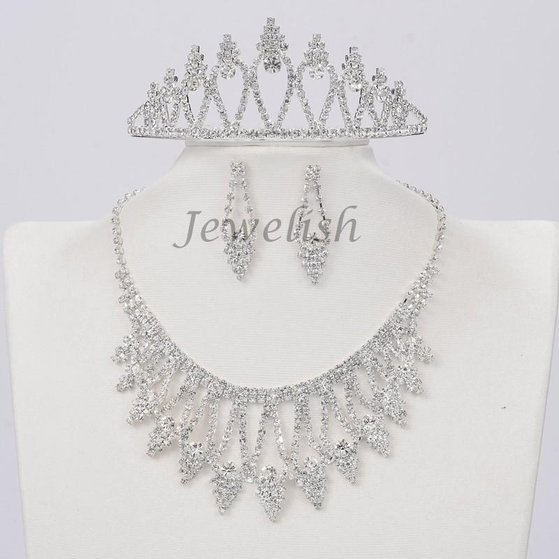 Silver Tone Brass Rhinestone Cup Chain Wedding Jewelry Sets, Bib Necklace, Stud Earring and Iron Crown Hair Comb, Crystal, 19(China (Mainland))