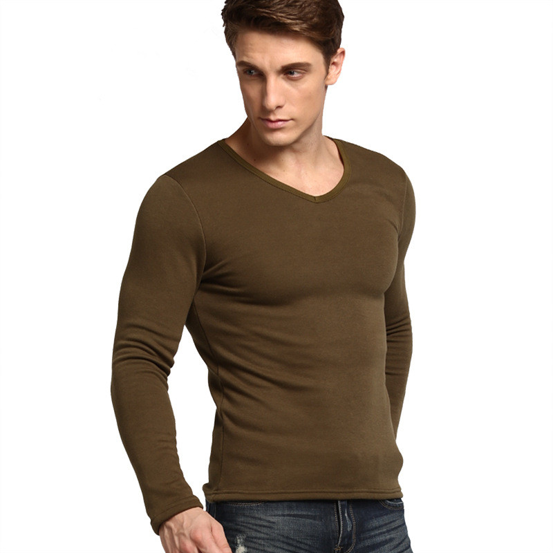 Fashion men 39 s plus thick velvet t shirts high quality warm for Good quality long sleeve t shirts