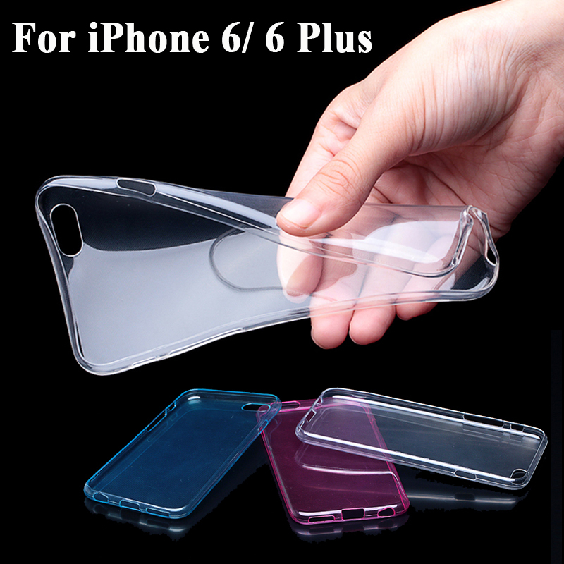 Transparent Clear Soft Silica Gel TPU Case Silicone Cover for iPhone 6 iPhone6 Plus Ultra Thin Mobile Phone Case 2015 Hot Sale(China (Mainland))