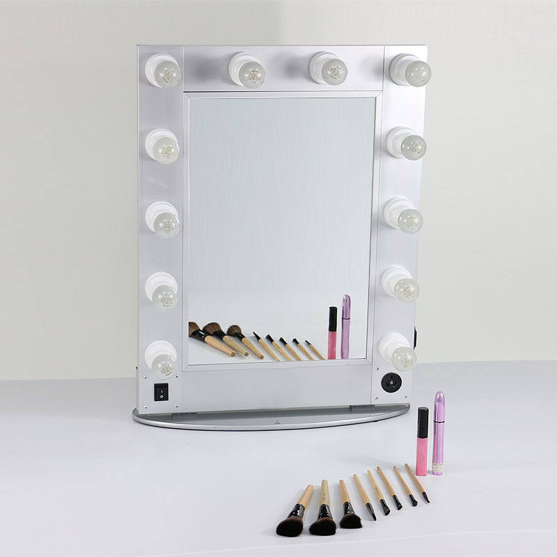 Silver and black hollywood style mirror professional for Miroir led ikea