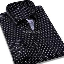 100% Cotton Polka Dot Men Casual Business Dress Shirt Brand Long Sleeve Males Slim Fit Stylish Social Formal Shirt Mens Clothing(China (Mainland))