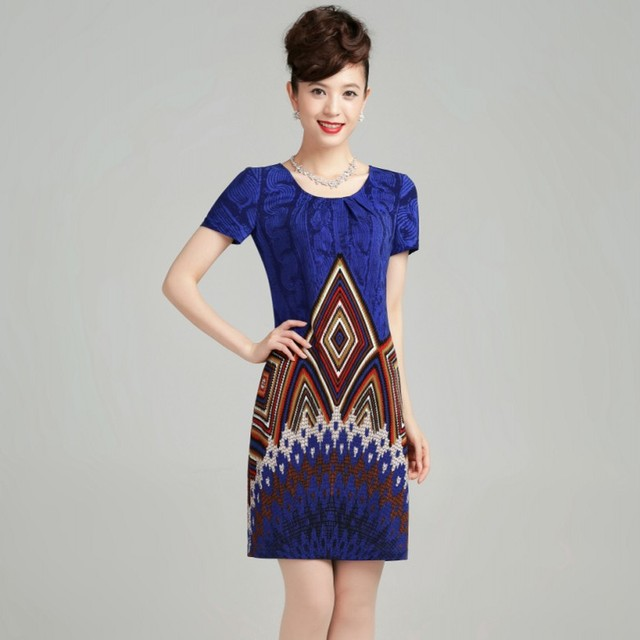 new fashion high Quality 2013 print  short-sleeve o-neck a-line women's casual dress plus size 01258001320