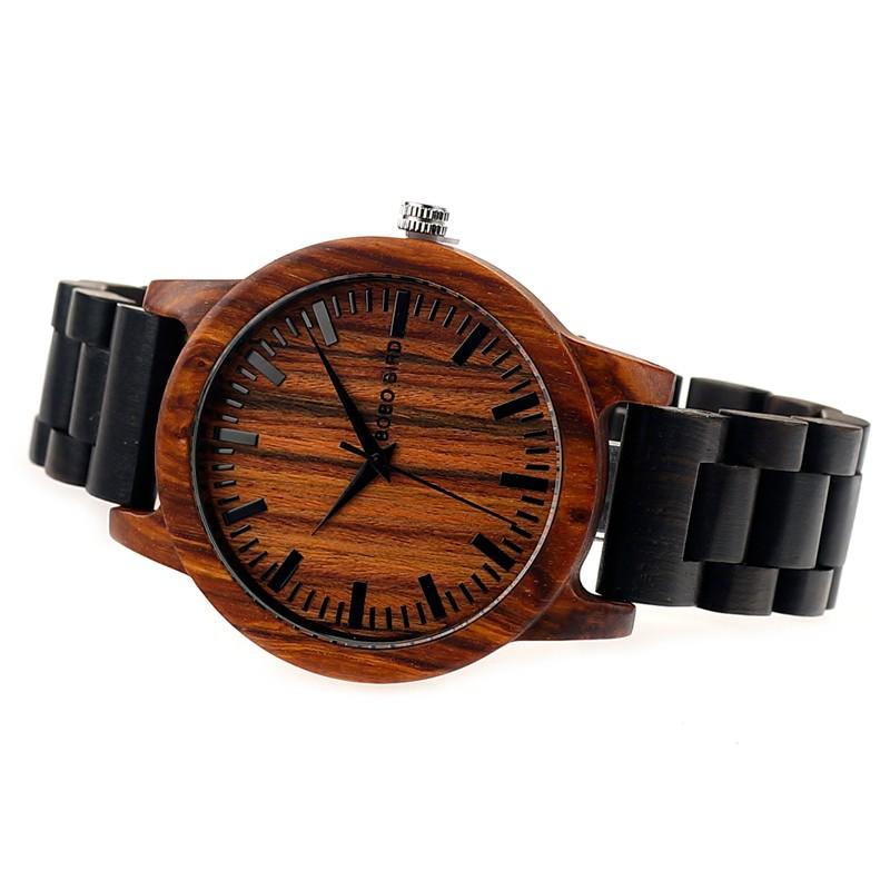 BOBO BIRD M05 Latest Men Women Wooden Watches Red Sandalwood Case Scale Dial Ebony Wood Band Quartz Watch Brand Designer