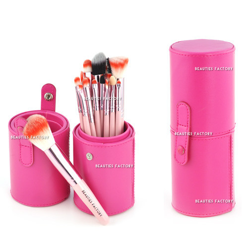18pcs Makeup Brushes Pink Leather Brush Stand