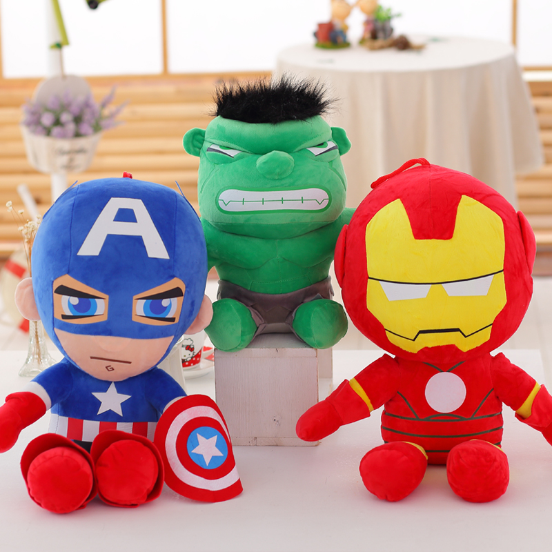 1PCS The marvel superhero series, Captain America & Iron Man & Green Giant Hulk plush toy cute Cartoon characters puppets(China (Mainland))