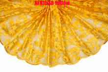 Wholesale or retail yellow African lace fabric / cheap French lace with sequins / embroidered tulle lace fabric for women