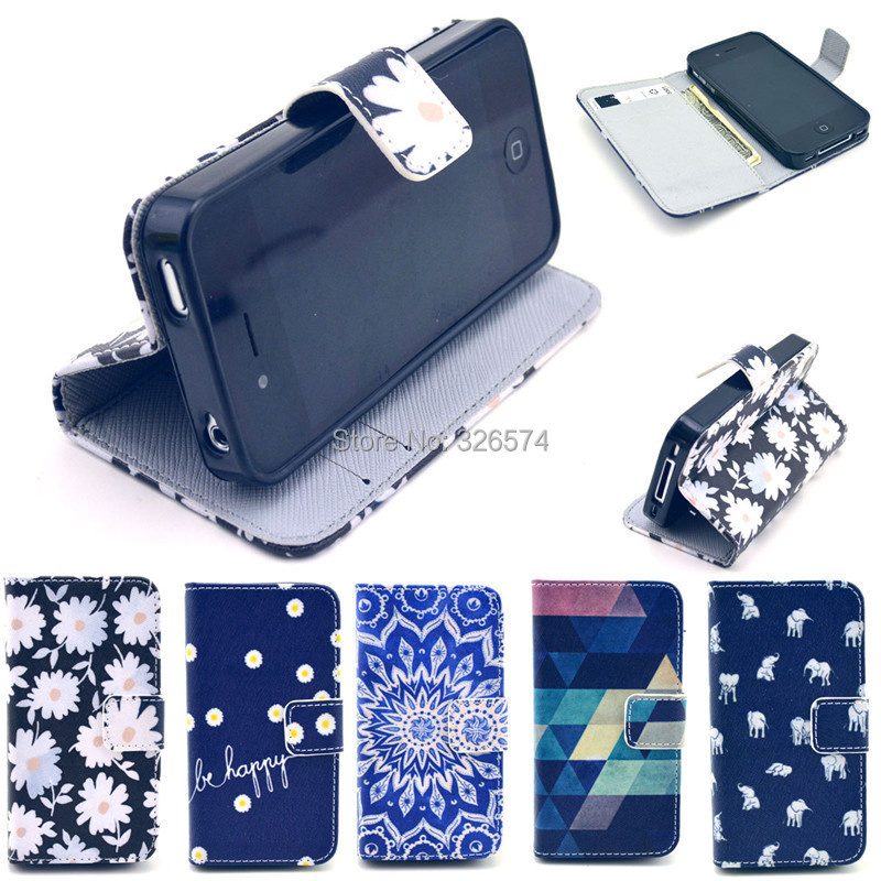 Multicolor optional Wallet PU Leather Flip Stand Holster Phone Case Cover iPhone 4 4S - HIGHSOUND INDUSTRIAL (HK store CO., LTD)