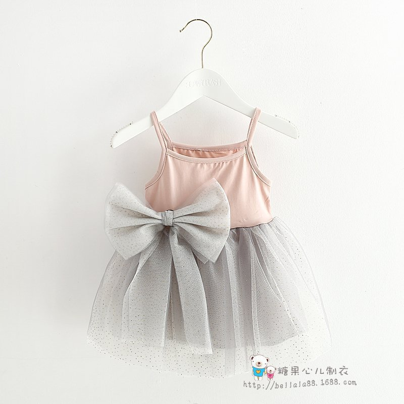 2015 Fashion baby toddler girls elegant grey lace dress newborn girls bowknot dress Infant boutique dress Formal 4-24 Month(China (Mainland))