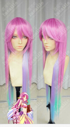Free shipping>>>NO GAME NO LIFE Multicolor Gradient Cosplay Wigs