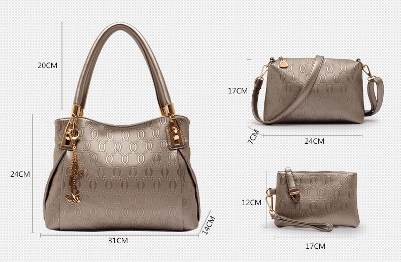 2015 Fashion Brand 3 Sets Bags High-grade Pu Leather Handbag Women