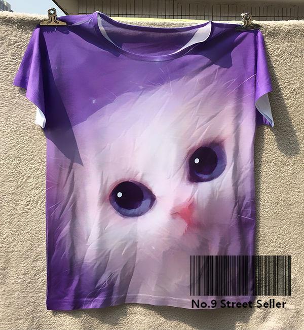 Track Ship+New Fresh Hot T-shirt Top Tee Magic Bubble Purple Dream Big Eye White Cat(Hong Kong)