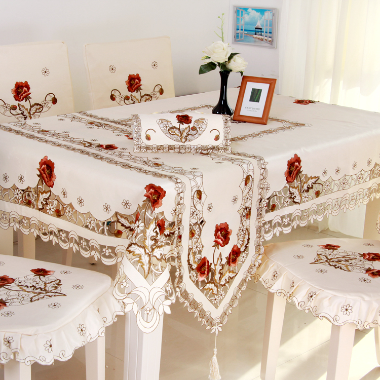 HBZ3 flower tablecloth table runner cover cloth Lace dining pastoral beige beautiful pink rose red floral fabric rectangle(China (Mainland))