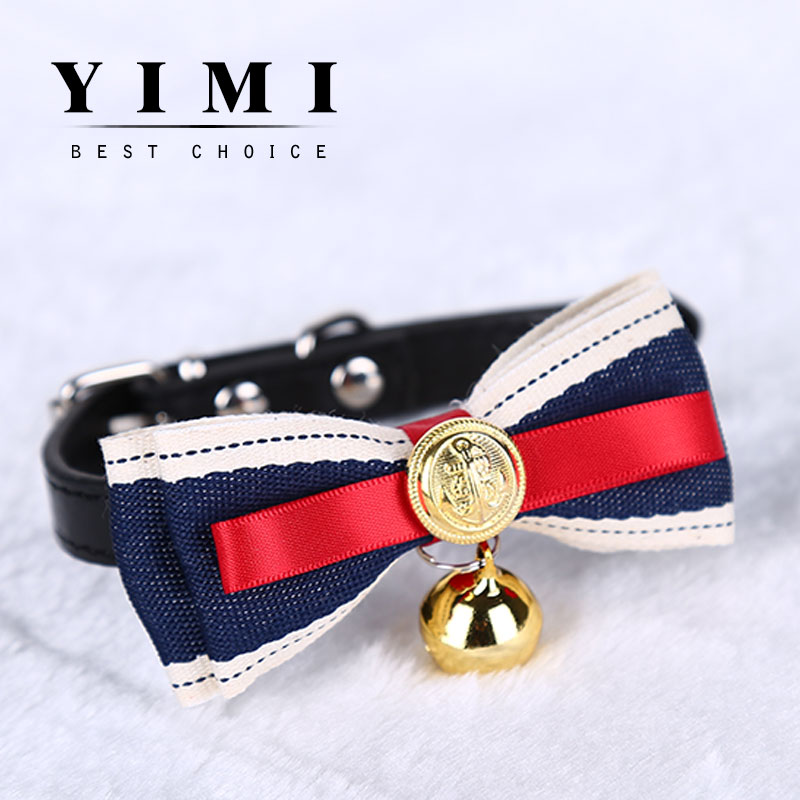 2016 new fashion solid pet dog cat jewelry tie Bell tone retro Royal lace collares Christmas gift mascotas Dog Collars Leads(China (Mainland))
