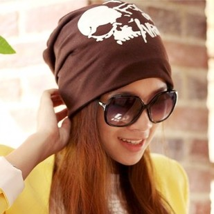 Autumn skull street toe cap covering cap fashion double layer lovers turban hat pocket Men and women fashion hat(China (Mainland))