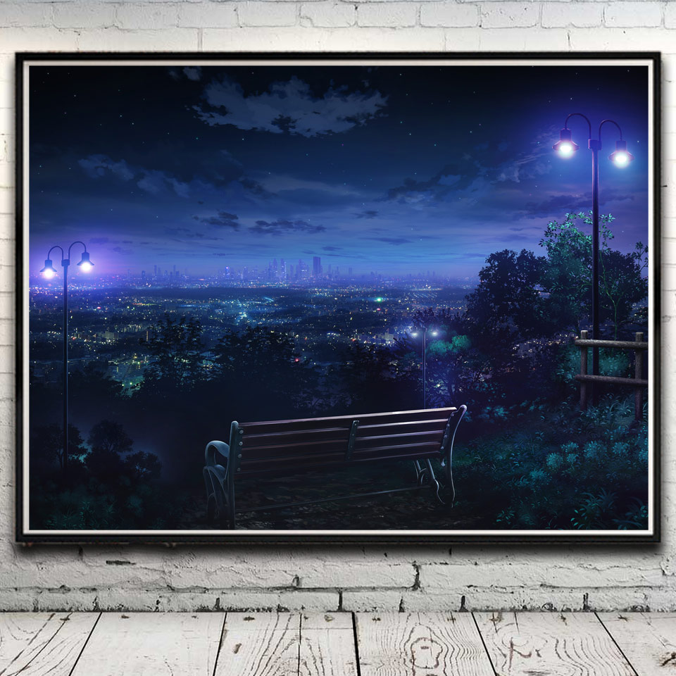 landscape cityscape night park hills lights art silk poster home decor pictures 12x16 18x24 24x32 inches no frame free shipping