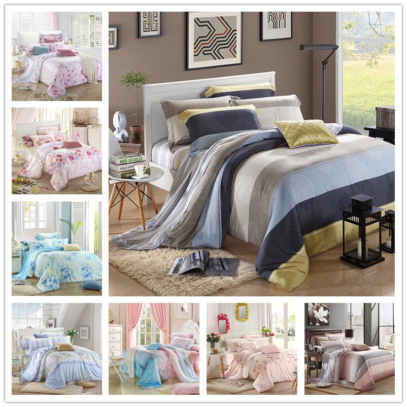 4pcs / set luxury beautiful flower printed 100% Tencel Silk bedding set queen king size summer jacquard duvet cover silk linen(China (Mainland))