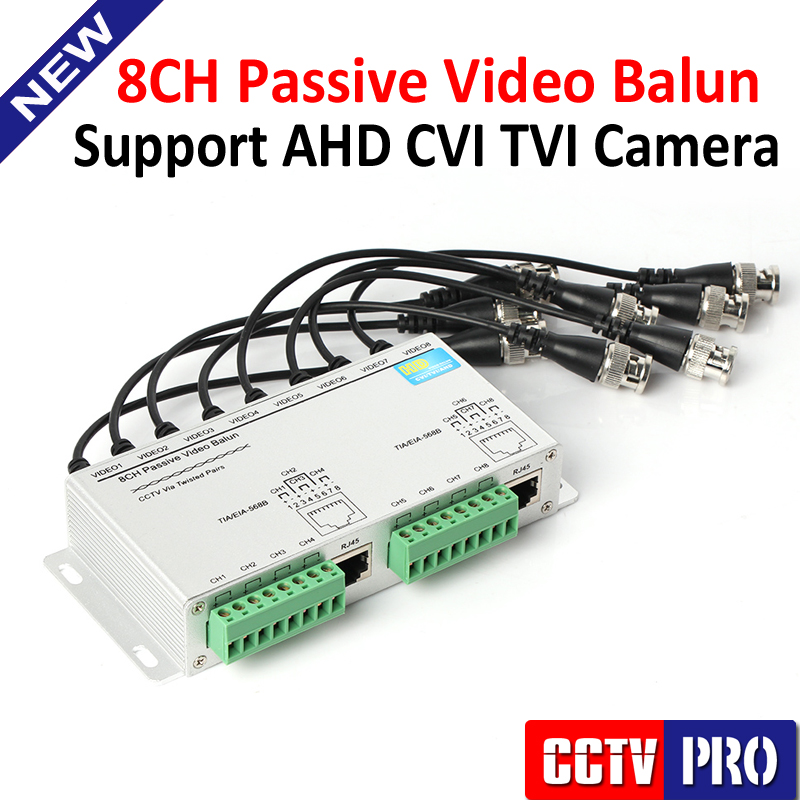 UTP 8Ch Passive Video Balun 8 Channel CAT5 CCTV BNC Video Balun Support 1080P/720P AHD,HDCVI,HDTVI Camera(China (Mainland))