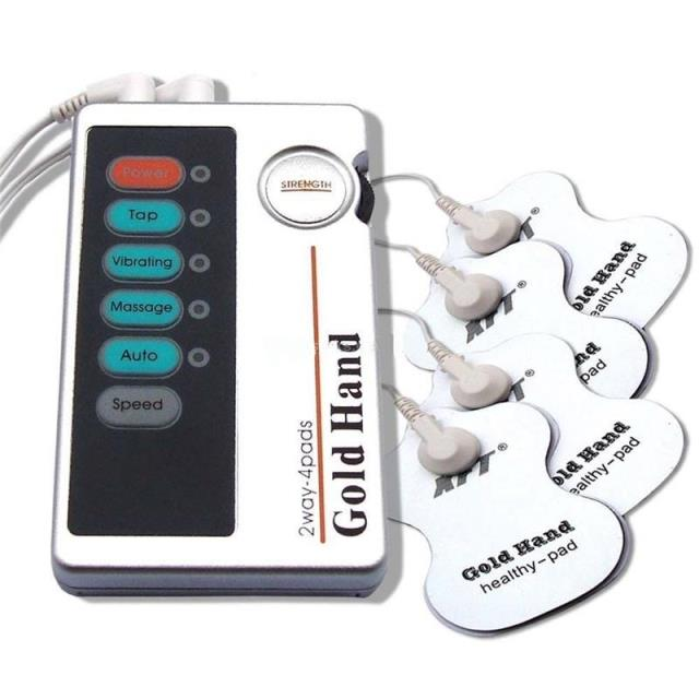 FDA Approved Gold Hand Low frequency electronic massager two channel 4 pads Cervical vertebra treatment device(China (Mainland))