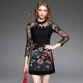 XL Top Grade New Sexy Dress 2016 Autumn Women Sheer Lace Patchwork Jacquard Cotton Print 3