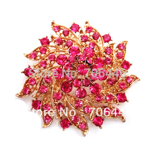 Gold Plated Hot Pink Crystal Diamante Flower Corsage Pin Brooch Party Bouquet Pins(China (Mainland))