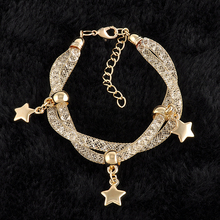 New Fashion Copper Mesh Star Heart Charm Bracelets Double Mesh Full Crystal Magnetic Clasp Wrap Bracelet statement Jewelry  (China (Mainland))