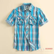 Men Plaid Shirt Men Shirts 2016 Cotton New Summer Spring Fashion Chemise Homme Mens Dress Shirts Short Sleeve Plus Size Discount(China (Mainland))
