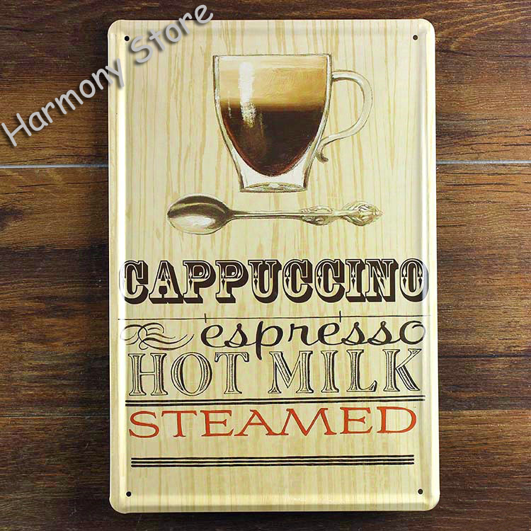 Cappuccino Coffee 20*30CM Vintage Metal Tin Signs Pub Gallery Coffee Shop Home Decor Craft Mural Poster Retro Tin Plaques(China (Mainland))