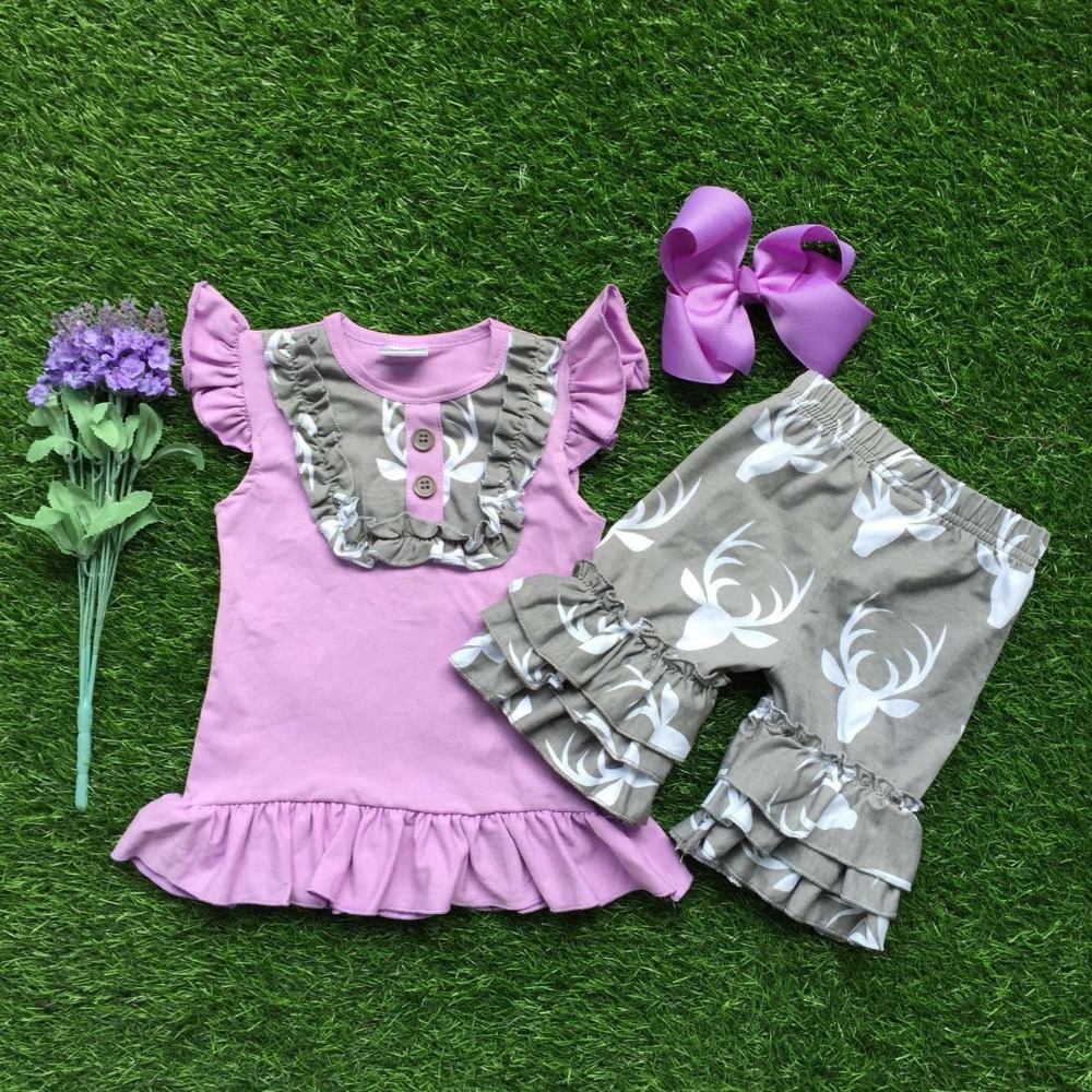 Girls Summer clothes baby girls boutique clothing lavender top reindeer clothes children summer clothing with matching hairbows(China (Mainland))