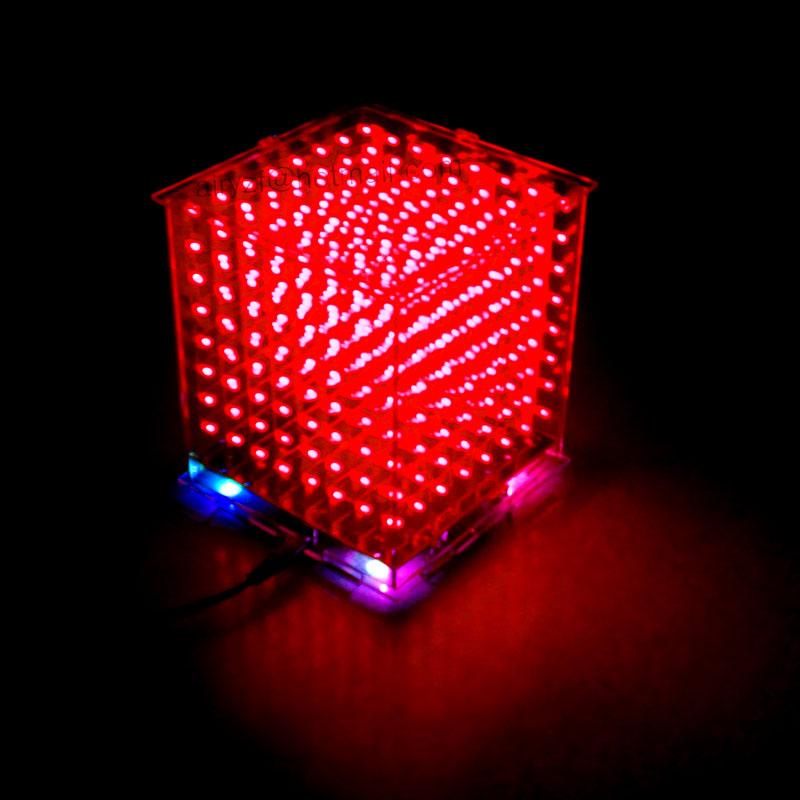 ถูก ของขวัญคริสต์มาส3D 8วินาทีมินิแสงcubeeds LEDชุดDIYการควบคุมระยะไกลที่มีนิเมชั่นผลกระทบ/3D8 8x8x8ชุด/จูเนียร์,ในสต็อก!
