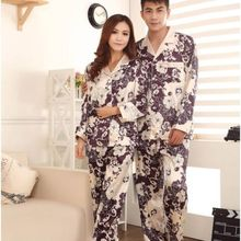 Couples Long Sleeve Printed Button Suits Slim Sleepwear Pajamas Sets Nightwear Free Shipping(China (Mainland))