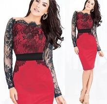 2015 летний стиль красный сексуальные кружева платье с длинным рукавом платье ну вечеринку вечер элегантный клубные слэш шеи синий Большой размер женская одежда XXXL