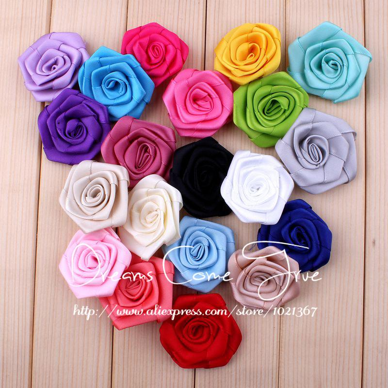 """20pcs/lot 1.6"""" 20 Colors HOT SALE Artificial Crochet Rose Flower For Children DIY Headwear Accessories Rolled Satin Hair Flowers(China (Mainland))"""