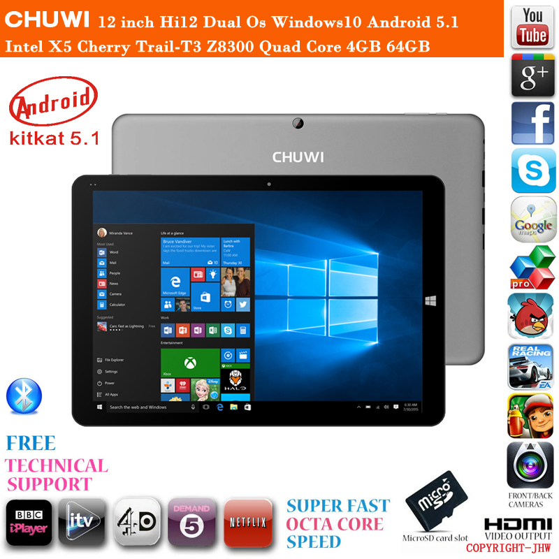 12 inch Chuwi Hi12 Dual Os Windows10 Android 5.1 Cherry Trail-T3 Z8300 Quad Core 4GB RAM 64GB ROM HDMI Tablet PC 1 Year Warranty(China (Mainland))