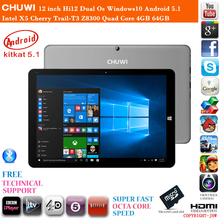 12 inch Chuwi Hi12 Dual Os Windows10 Android 5.1 Cherry Trail-T3 Z8300 Quad Core 4GB RAM 64GB ROM HDMI Tablet PC 1 Year Warranty(China (Mainland))
