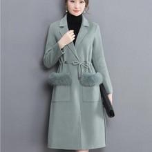 Clocolor 2017 Women Hooded Winter Wool Coat Full Sleeve Autumn Winter Warm Female Long Cloaks Outwear Back Lace Up Wool Coat(China (Mainland))