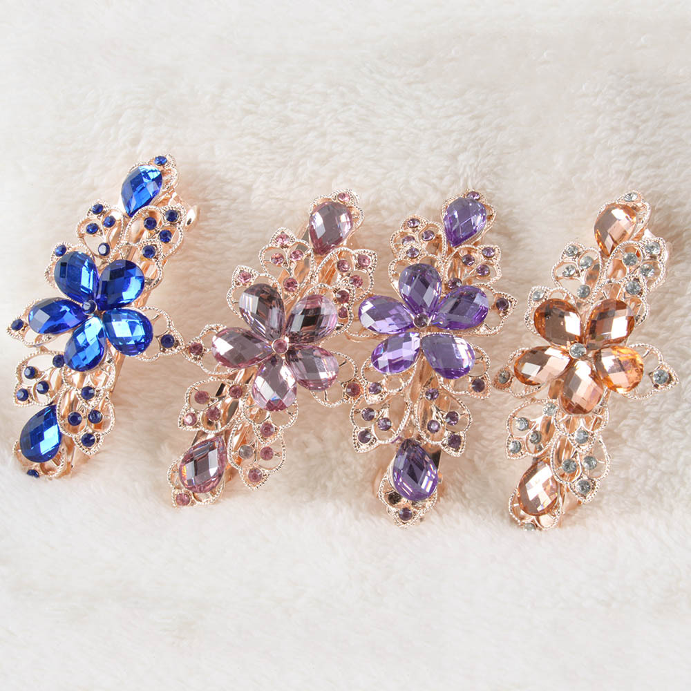 Elegant Lady's Rhinestone Crystal Flower Hairpin Clip Barrette Metal Hair Pins Hot(China (Mainland))