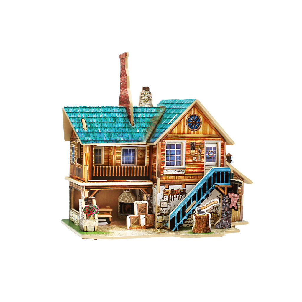Wooden DIY 3D Puzzle Jigsaw House Model Construction Kit America Workshop Educational Activity Toys for Children Family Gift(China (Mainland))