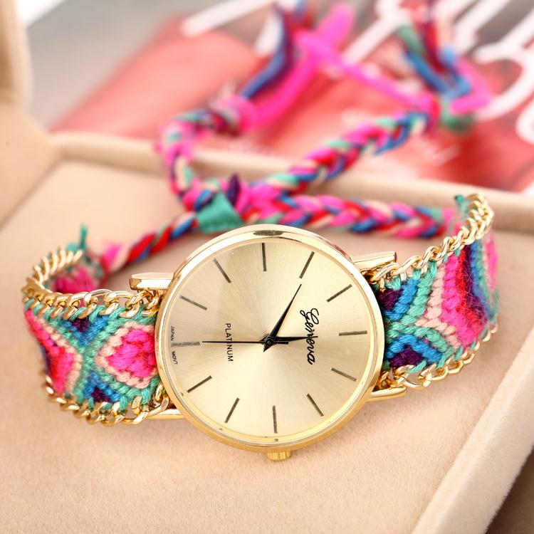 2014 New Arrival Handmade Rope Bracelet Wristwatch Bohemia Geneva Golden Chain Fabric Dress Watch Fashion Women Casual Watch(China (Mainland))