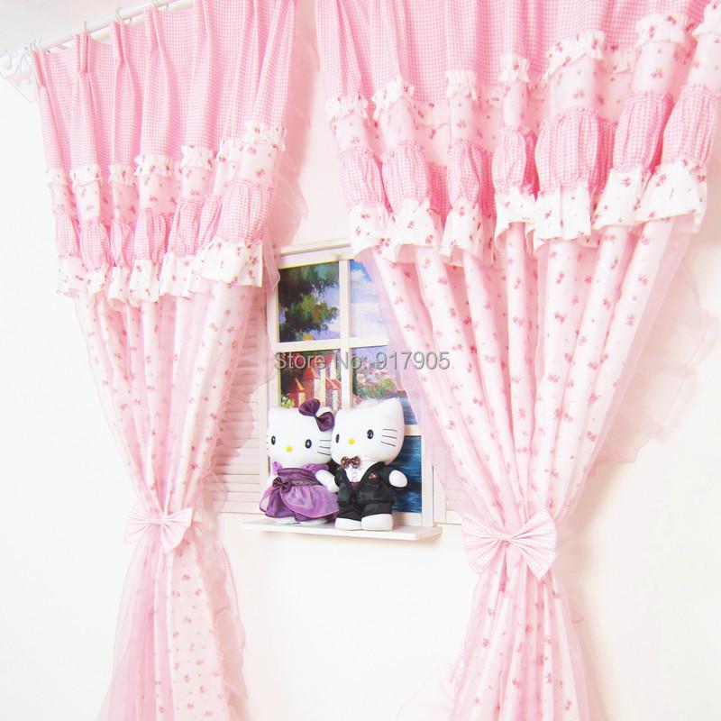 Elegant Pink Rose And Lace Bedroom Curtains Designer Pink Gingham ...