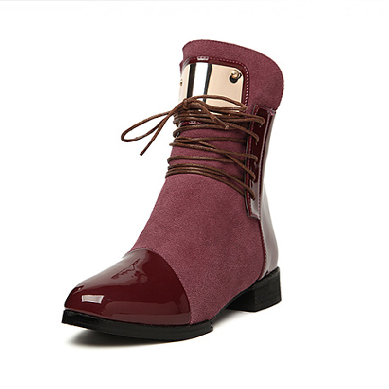 Hot Sale Women Genuine Leather Flat Ankle Boots Vintage Suede Fur Autumn &amp; Spring Boots For Women Ladies Casual Motorcycle Boots<br><br>Aliexpress