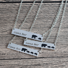 Buy Mama Bear Tag Engraved Animal Pendant Necklace Gold Silver Mother Kids Love Necklace Simple Fashion Mom Children Jewelry for $1.19 in AliExpress store