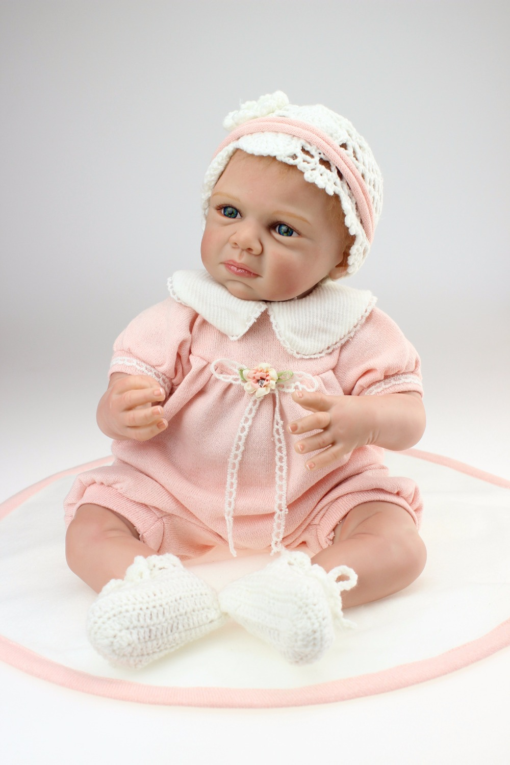 22inch 55cm Silicone baby reborn dolls, lifelike doll reborn babies toys for girl princess gift brinquedos Children's toys(China (Mainland))